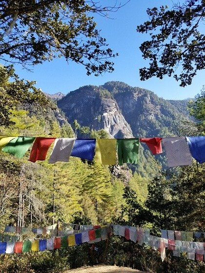 Tiger's Nest hike prayer flags
