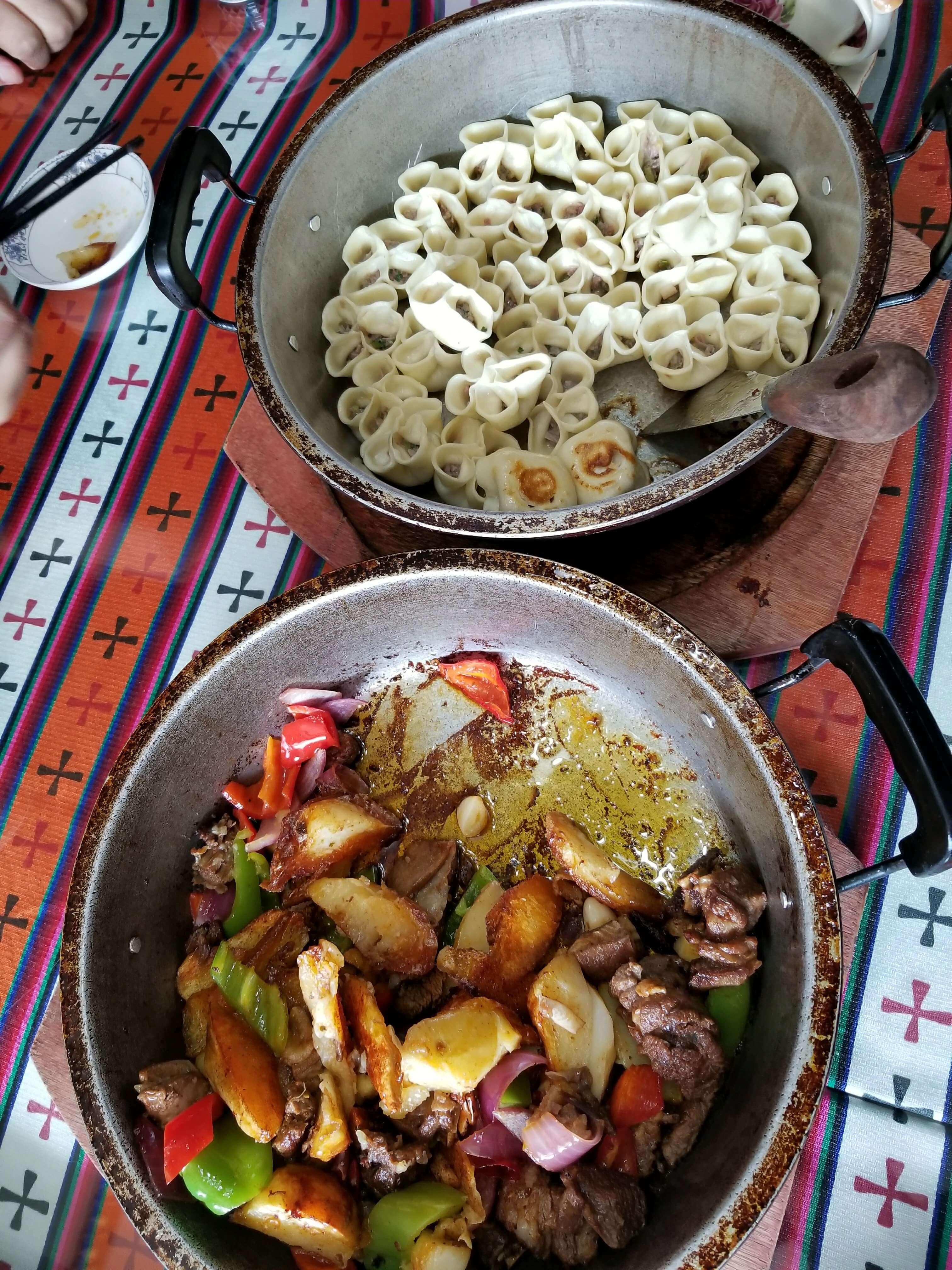 Tibetan dumplings yak stir fry