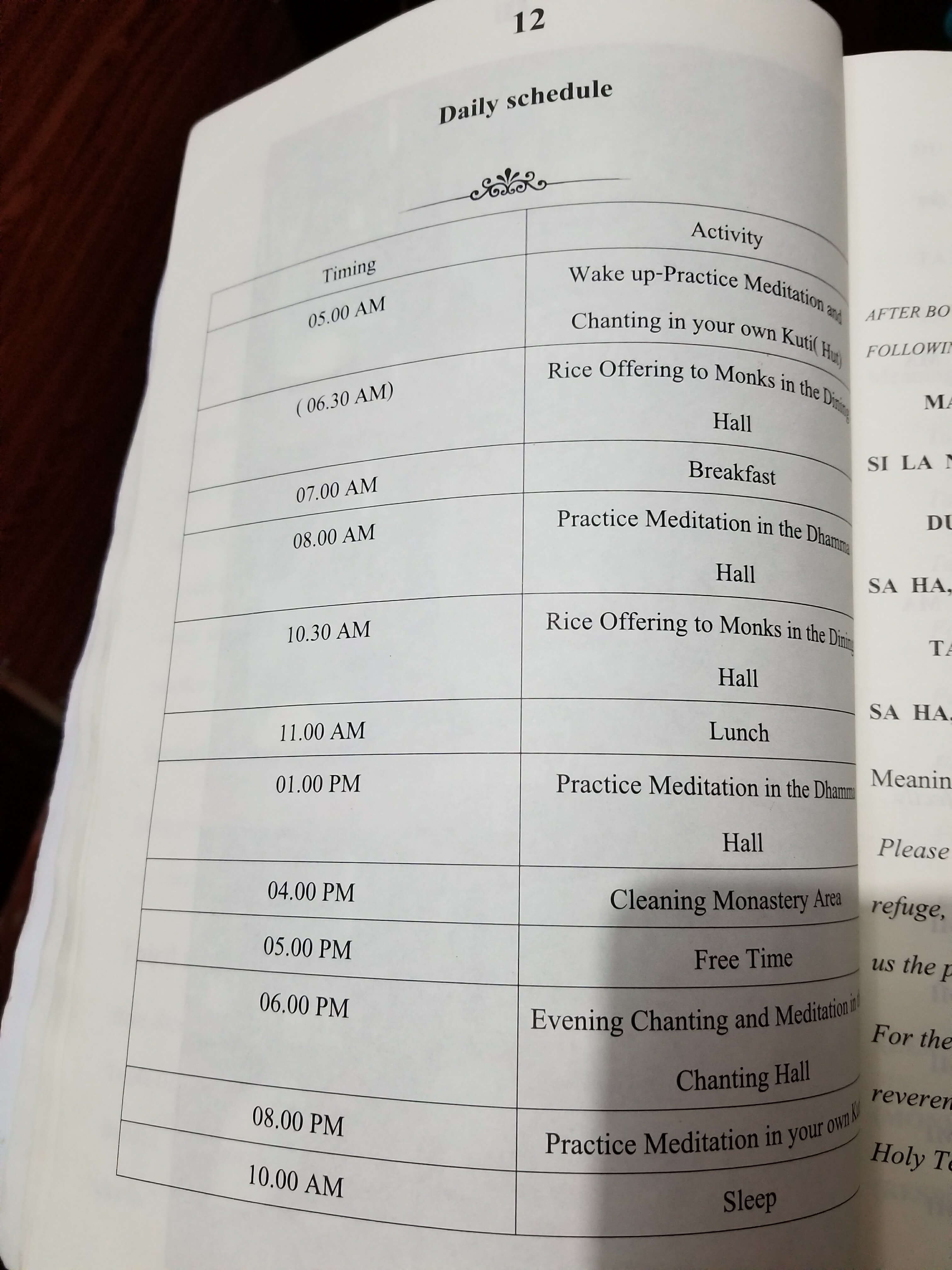 Tam Wua Forest Monastery schedule