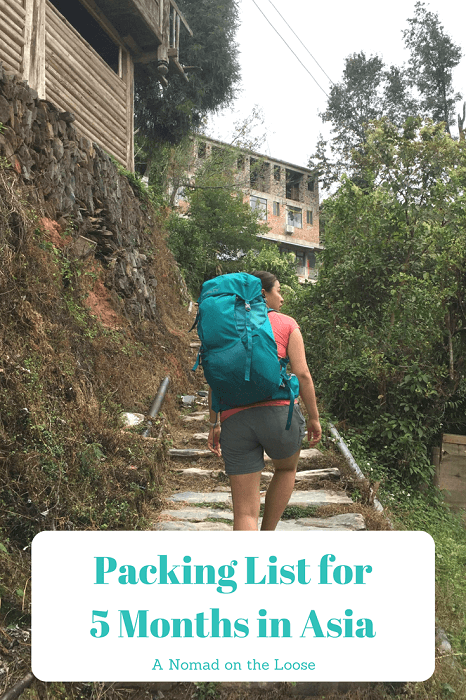 Packing List Asia for 5 Months