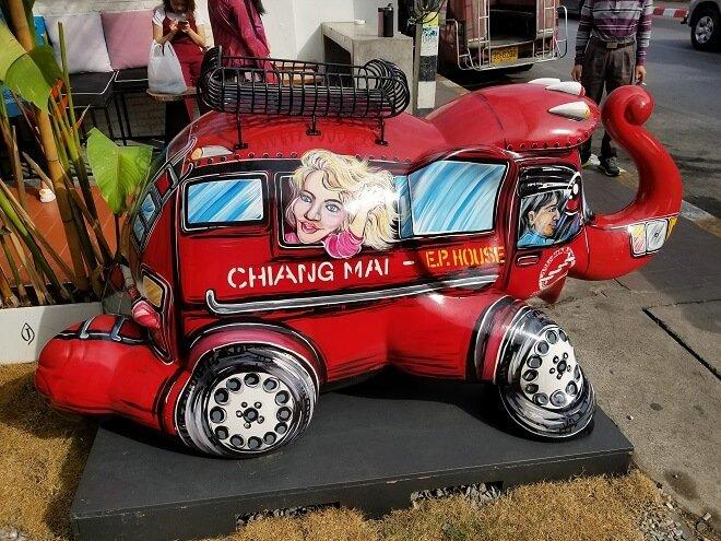 elephant songthaew Chiang Mai