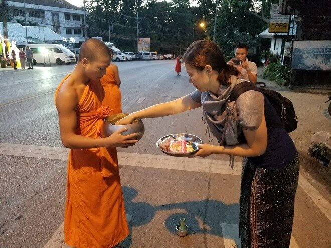 giving alms to monks Chiang Mai