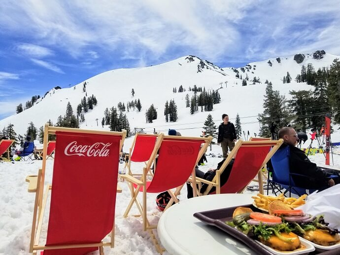 spring skiing lunch