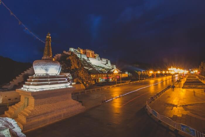 Potala Palace in Lhasa at night